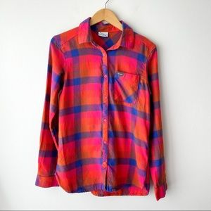 COLUMBIA Pink Bright Button Down Cotton Flannel S